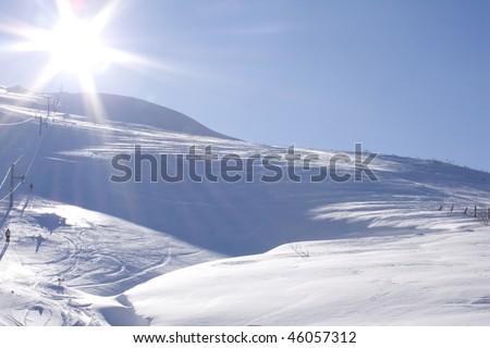 winter landscape on Bjelasnica mountain in Bosnia - stock photo