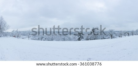 Winter landscape panorama in south germany - stock photo