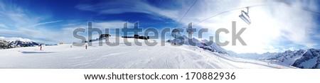 Winter landscape - Panorama of the ski resort - stock photo