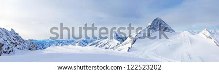 Winter landscape - Panorama of the ski resort Zillertal Hintertuxer Glacier, Tirol, Austria - stock photo