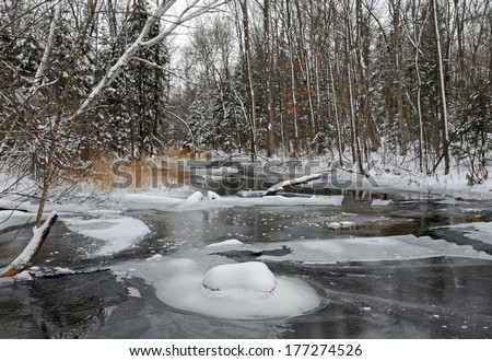 Winter landscape scenery: ice on river in the wilderness - stock photo