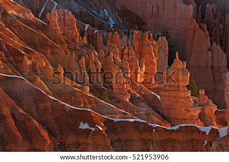 Winter landscape shortly after sunrise of the hoodoos of Bryce Canyon National Park, Utah, USA