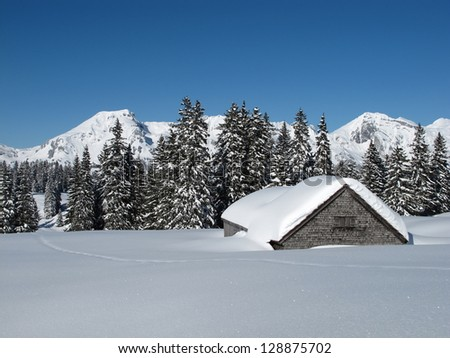 Winter landscape, snow covered trees and hut