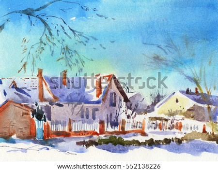 Winter landscape. Sunny snow day. Watercolor