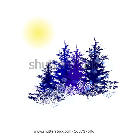 winter landscape trees. Raster - stock photo