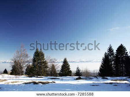 Winter Landscape view of snow up in the Mountains or Swiss Alps.