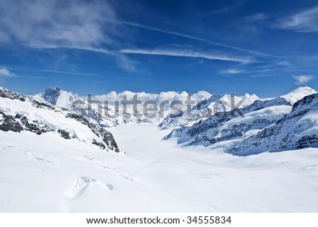 Winter landscape (Winter in Swiss Alps) - stock photo