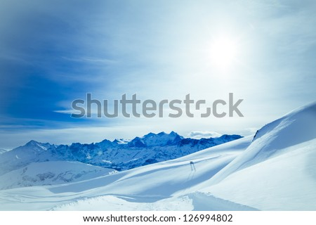 Winter landscape. winter mountains landscape. Beautiful winter - stock photo