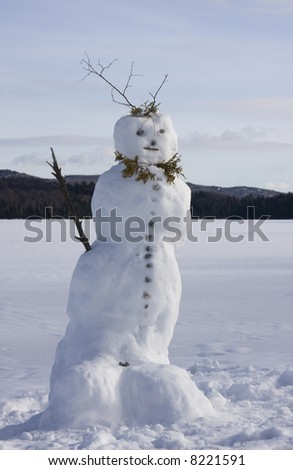Winter landscape with a snowman in front - stock photo