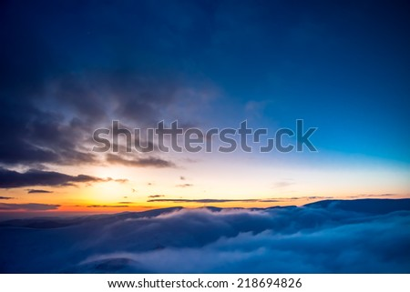 Winter landscape with a sunset. Ukraine, the Carpathian mountains. - stock photo