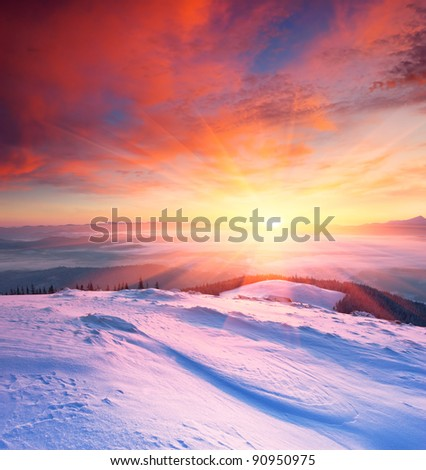 Winter landscape with a sunset. Ukraine, the Carpathian mountains. - stock photo