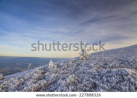 Winter landscape with a view of the hills to mountains with frosted grass   - stock photo
