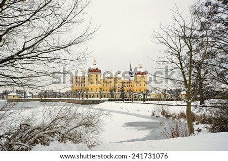 winter landscape with castle in background - stock photo