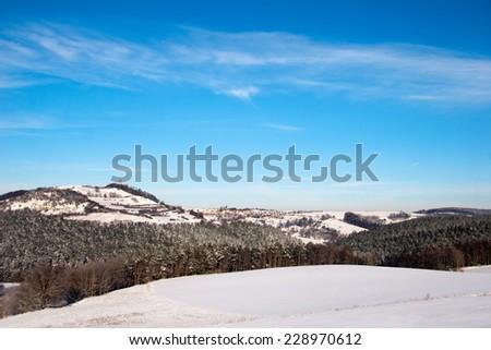 winter landscape with castle Leuchtenburg, Thuringia, Germany - stock photo