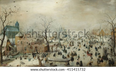 Winter Landscape with Ice Skaters, by Hendrick Avercamp, 1608, Dutch painting, oil on panel. Hundreds of people are out on the ice, for both pleasure and necessity. The painting has details of buildi - stock photo