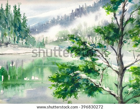 Winter landscape with lake and mountains reflecting in water. Picture created with watercolors on paper. - stock photo