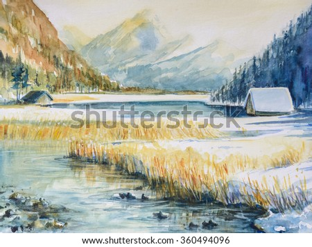Winter landscape with mountain,lake  and house  covered with snow. Picture created with watercolors on paper. - stock photo