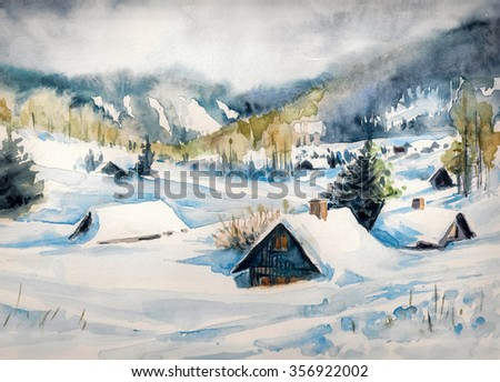 Winter landscape with mountain village covered with snow. Picture created with watercolors on paper. - stock photo