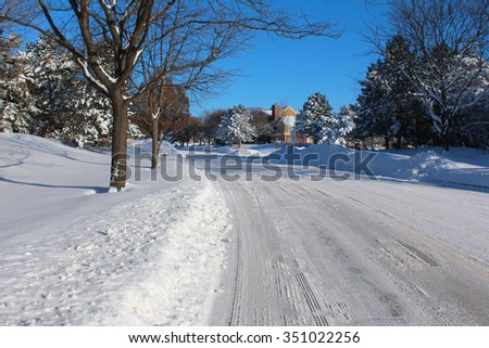 Winter landscape with road and snow - stock photo