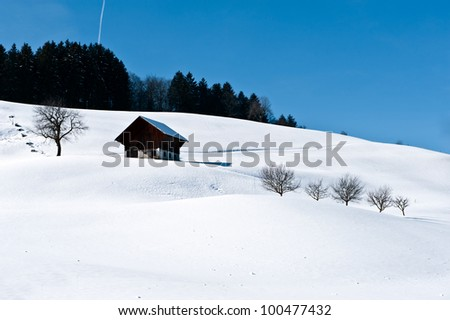 Winter landscape with shed