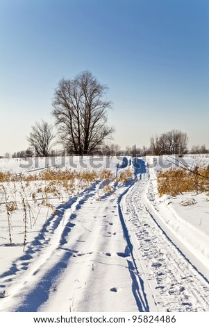 Winter landscape with snow. Russian winter. - stock photo