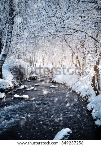 Winter landscape with the river in frosty sunny day - stock photo