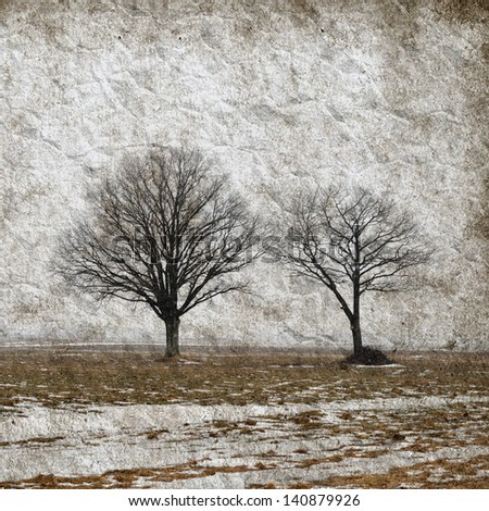 winter landscape with trees on grunge paper