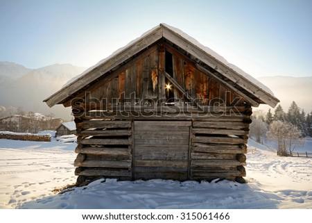 Winter landscape with wooden barn, Pitztal Alps - Tyrol Austria Europe - stock photo