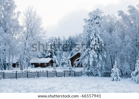 Winter landscape. wood small house in snow wood - stock photo