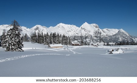 Winter lanscape in the Toggenburg, Mt  Saentis - stock photo