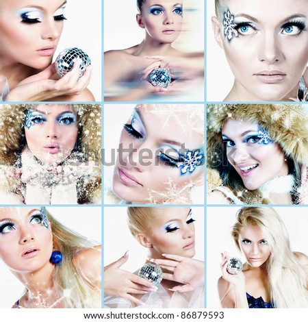 winter makeup. collage - stock photo