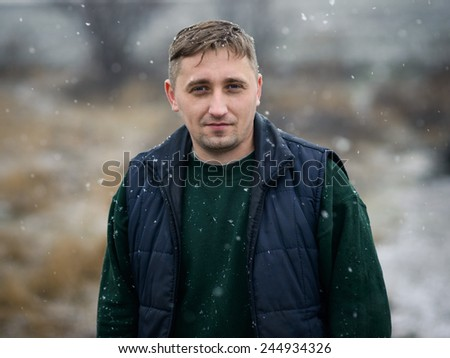 winter male portrait - stock photo