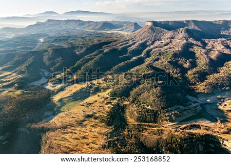 Winter misty landscape early in the morning  in La Garrotxa, Catalonia - stock photo