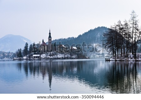 Winter morning at slovenian alps on lake Bled, Slovenia - stock photo