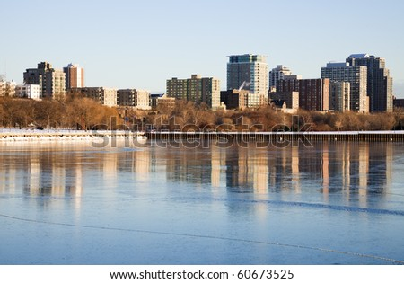 Winter morning by the lake. Milwaukee, Wisconsin, USA. - stock photo