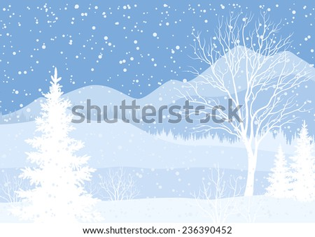 Winter mountain Christmas landscape with fir trees and snow, white and blue silhouettes.