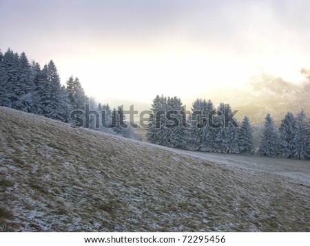 Winter mountain landscape and frozen trees: Saint Nizier du Moucherotte, Alps, Vercors, France - stock photo