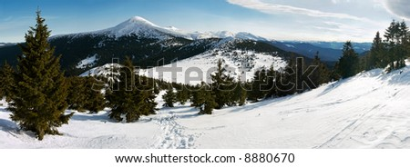 Winter mountain landscape (180 degree panorama view on Goverla Mountain, Ukraine, Carpathian Mt's). Left side of panorama shooting opposite sun (slightly overexposure)