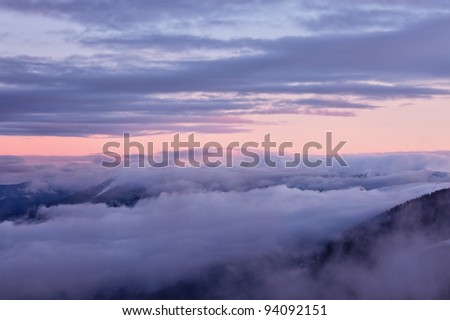 Winter mountain landscape. Great Smoky Mountain National Park, Tennessee, USA - stock photo