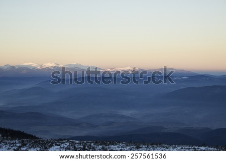 Winter mountain landscape in sunny day. - stock photo