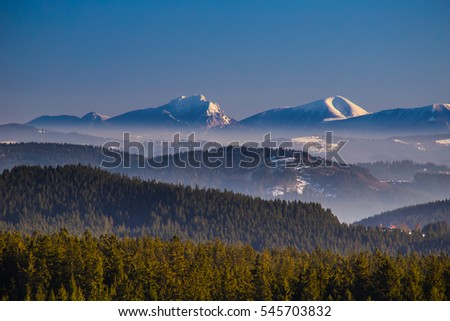 Winter mountain landscape, Mala Fatra from Besykydy area