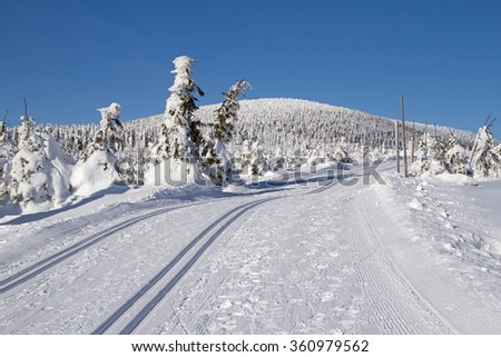 Winter mountain landscape scenery with cross country skiing way. Horizontally. Snowy mountain is in the background. - stock photo