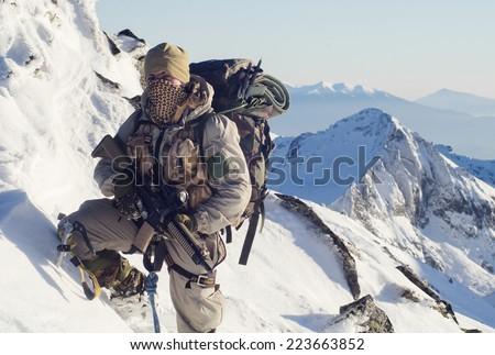 Winter mountain operations - stock photo