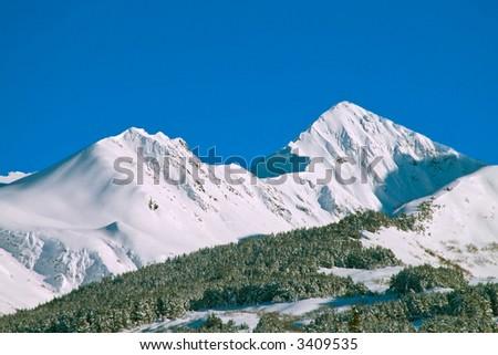 winter mountain scenic of chugach mountains in alaska - stock photo