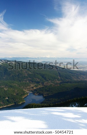 Winter mountain view from snow peak. - stock photo