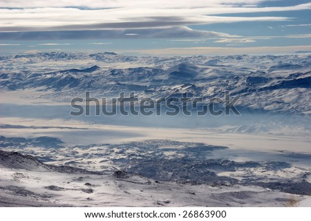 Winter mountains at Turkey-Iran border