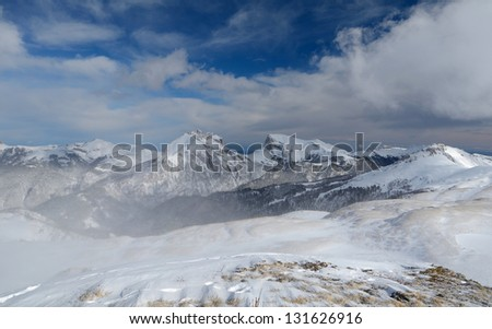 Winter mountains of Western Caucasus
