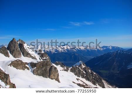Winter mountains peaks - stock photo