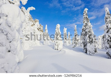 Winter mountains. South Ural, backbone of Taganay . - stock photo
