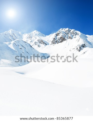 Winter mountains - space for text - stock photo